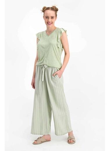 Arnetta Basic Soluk Mint Kadın Kısa Kol Pijama Takımı Yeşil